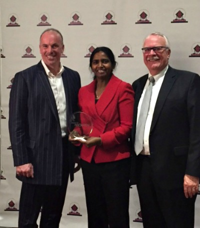 l-r) Dr. David Malloy, Vice-President (Research) U of R with Dr. Shanthi Johnson, professor in the Faculty of Kinesiology and Health Studies and Ken Loeppky, VP & COO, Innovation Place.