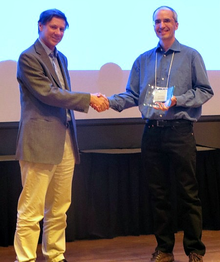 Patrick Maidorn (r), math instructor at the U of R, with Martin Barlow, Director of the Pacific Institute for the Mathematical Sciences.