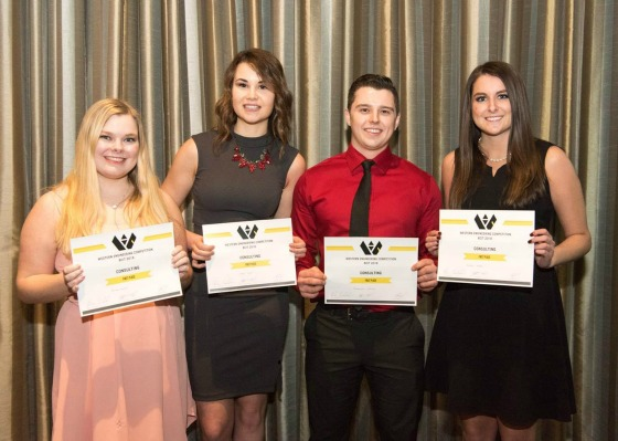 The team of (l-r) Emma Fraser, Kailey Lowe, Mackenzie Gelinas, and Kaylee Hayko took top spot in the Consulting category at the Western Engineering Competition (WEC).
